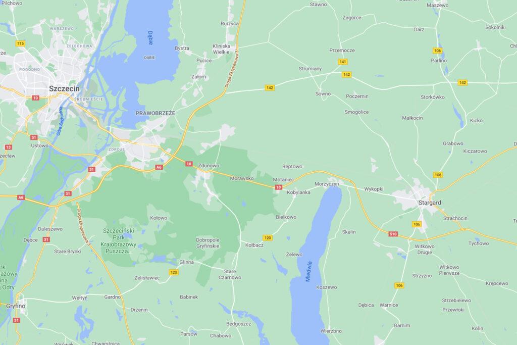 mapa miedwia